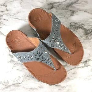 Fitflop Blue Beaded Thong Toe Sandal